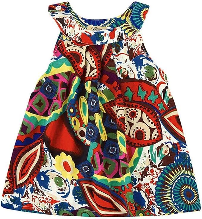 Amlaiworld Robe de Filles Enfants Filles Robe de Ceinture Bowknot Robe /à Bulles sans Manches Robe de Paon V/êtements de F/ête pour 3-7 Ans Fille