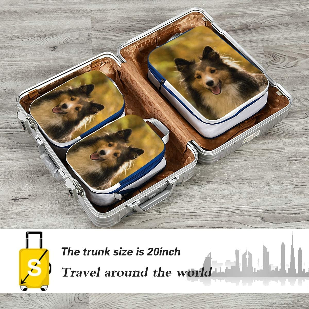 Autumn Dog 3 Set Packing Cubes,2 Various Sizes Travel Luggage Packing Organizers t