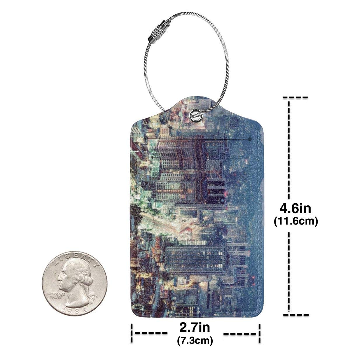Seoul South Korea Cityscape City Apartments Mountains House Travel Luggage Tags With Full Privacy Cover Leather Case And Stainless Steel Loop