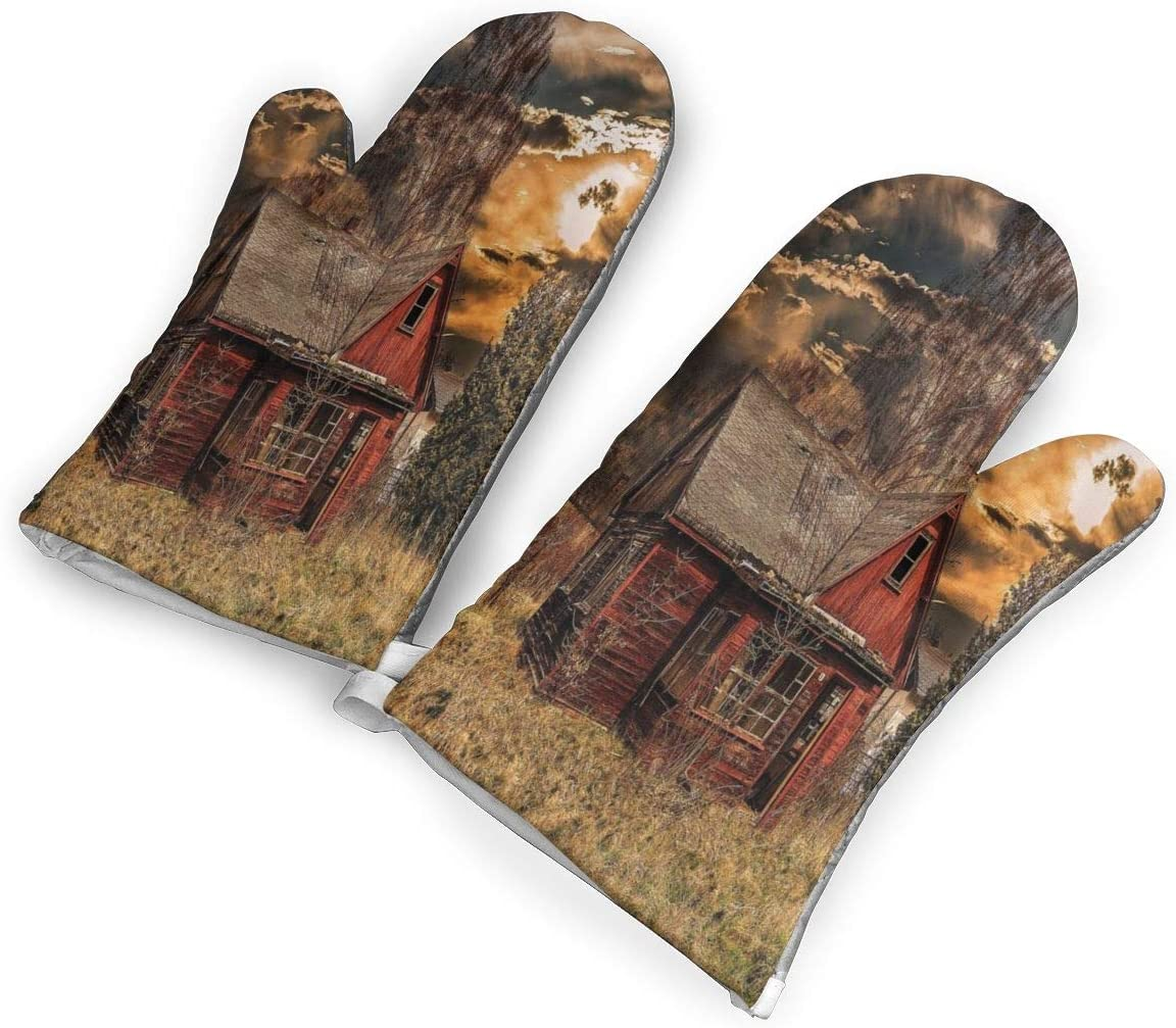 not Scary Horror Movie Themed Abandoned House in Oven Mitts with Polyester Fabric Printed Pattern,1 Pair of Heat Resistant Oven Gloves for Cooking,Baking,Grilling,Barbecue Potholders