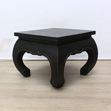 Opiumtisch Bestelltisch 50x50 Cm Couchtisch Wohnzimmertisch Nachttisch Dekoration Ablage Opium Hocker Akazien Massiv Holz Schwarz