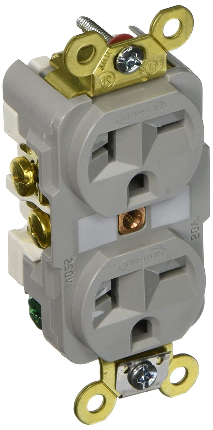 Hubbell HBL5462GY Duplex Receptacle, HD Industrial Grade, 20 amp ...