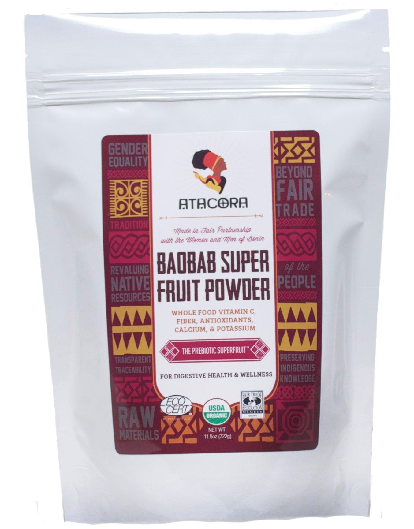 Atacora Fair Trade Certified Organic Baobab Super Fruit Powder 30 Day Supply In Travel-Ready Resealable BPA Free Bag, 11.5 Oz. by Atacora