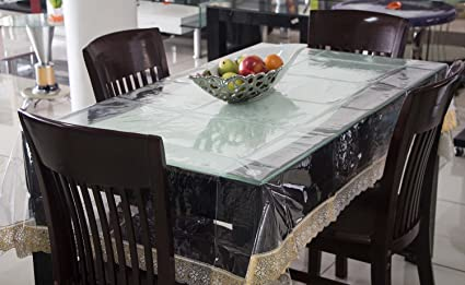 buy kuber industries pvc dining table cover set transparent online rh amazon in dining room table coventry glass table covers dining room table