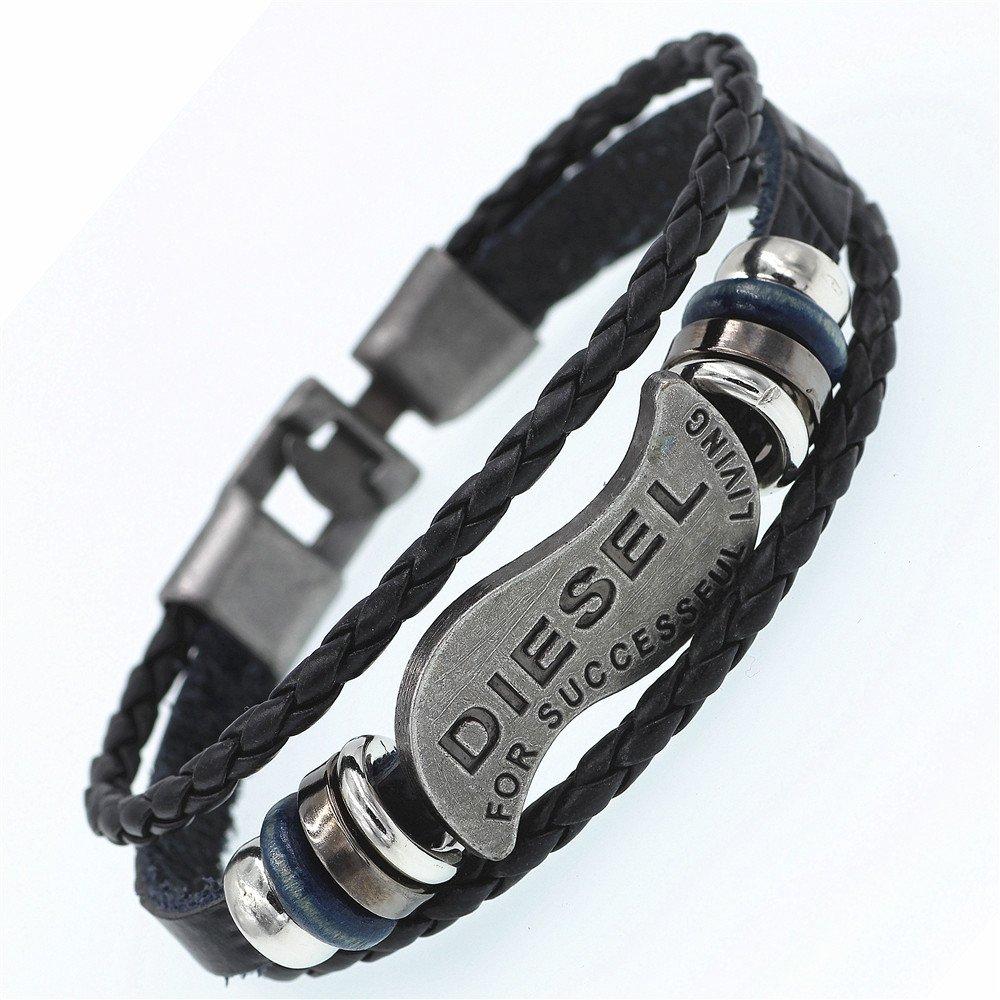 Nusthamon DGW Multilayer Diesel Bracelet Men Casual Fashion Braided Leather Bracelets Women Wood Bead Bracelet Punk Rock Men Jewelry
