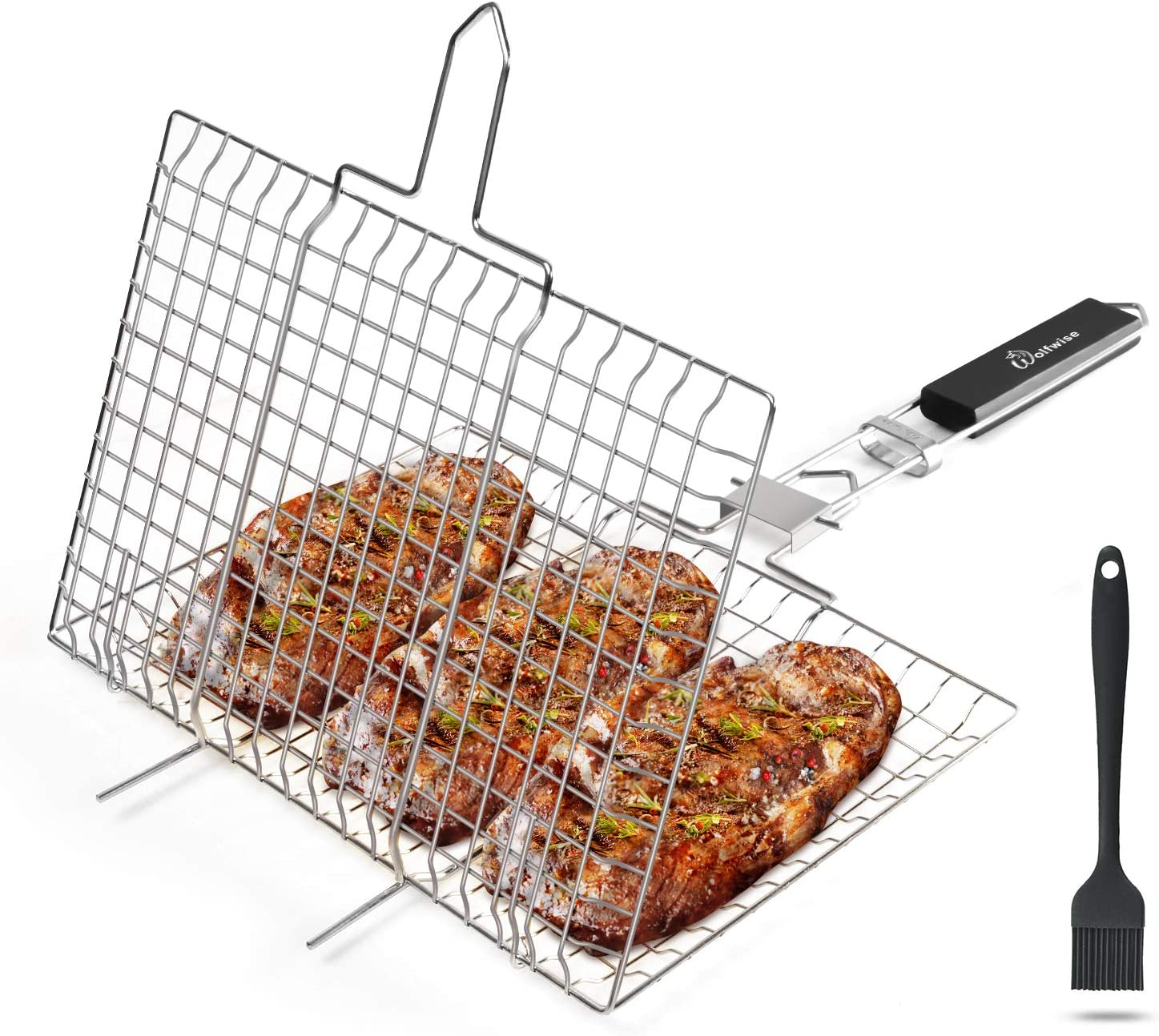 Barbecue Burger Vegetable WolfWise Portable BBQ Fish Grilling Basket Grates