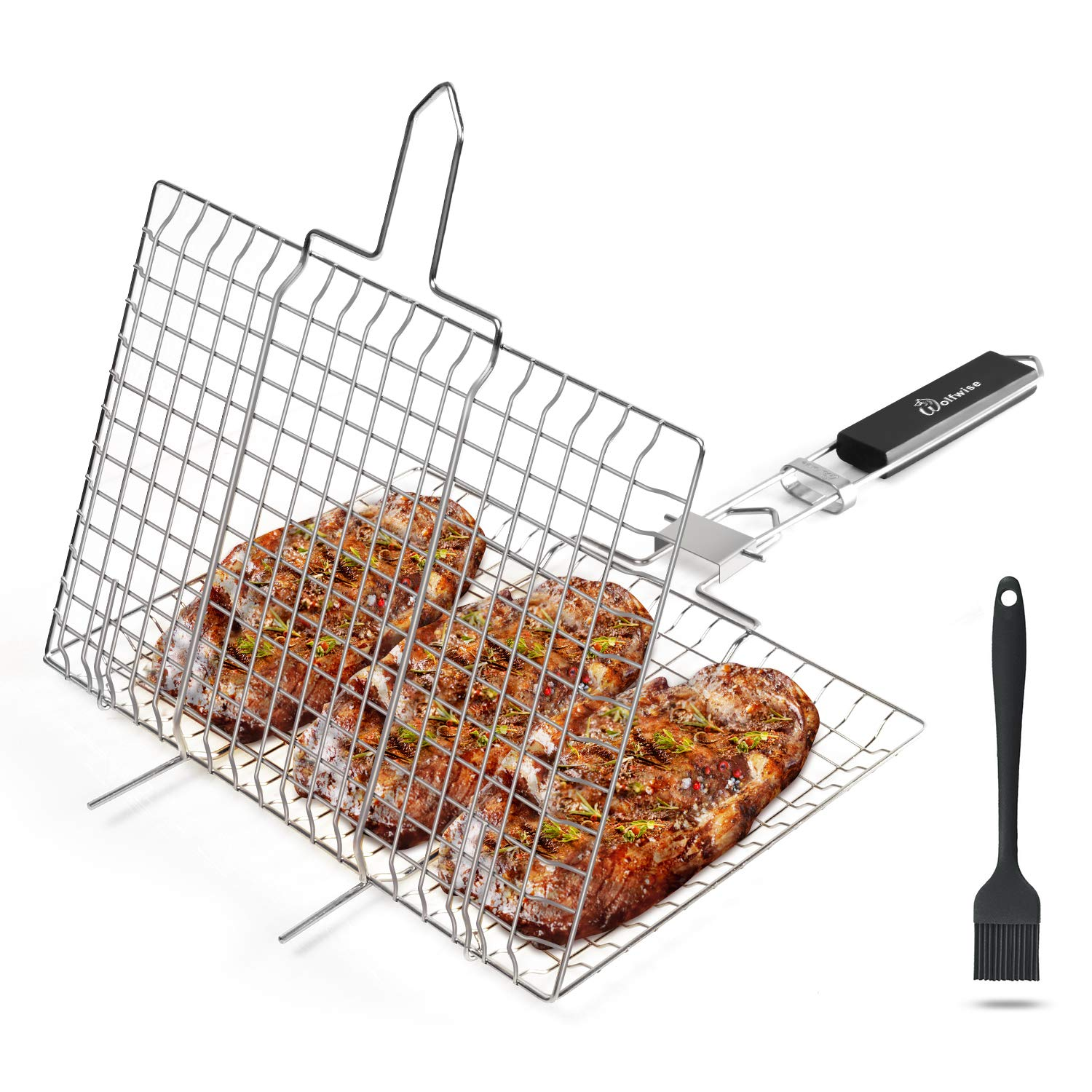 WolfWise Stainless Steel Portable BBQ Grilling Basket for Fish Vegetable Steak Shrimp with an Additional Basting Brush by WolfWise