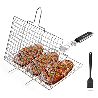 WolfWise Stainless Steel Portable BBQ Grilling Basket for Fish Vegetable Steak Shrimp with an Additional Basting Brush