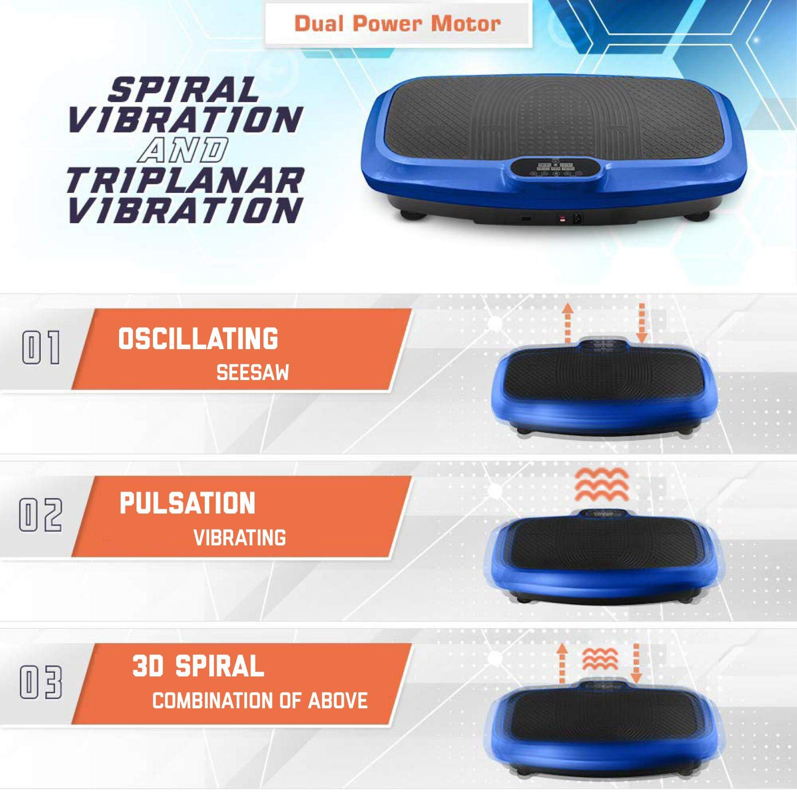 LifePro 3D Vibration Plate Exercise Machine - Dual Motor Oscillation, Pulsation + 3D Motion Vibration Platform   Full Whole Body Vibration Machine for Home Fitness, Weight Loss, Toning & Shaping. by LifePro (Image #1)