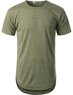 f96346ec9 URBANCREWS Mens Hipster Hip Hop Elong Round Hemline Crewneck T-Shirt