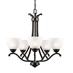 CO-Z 5 Lights Antique Bronze Chandelier Lighting, Traditional Ceiling Light Fixture with Satin Etched Cased Opal Glass Shade for Foyer, Dining Room, Living Room, Family Room
