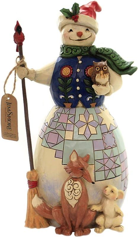 Jim Shore Snowman with Animals Christmas Figurine 6005248 New