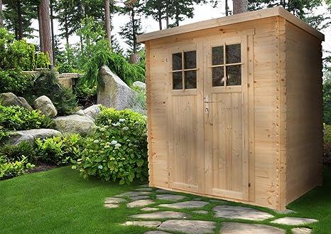TIMBELA M310F Abri de jardin en bois exterieur - Chalet en Pin / épicéa-  Toit plat - 2.63m2
