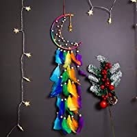 MOREBEST Dream Catcher Handmade Moon Design with Feathers Dreamcatcher Wall Hanging Home Decoration Ornament Christmas…