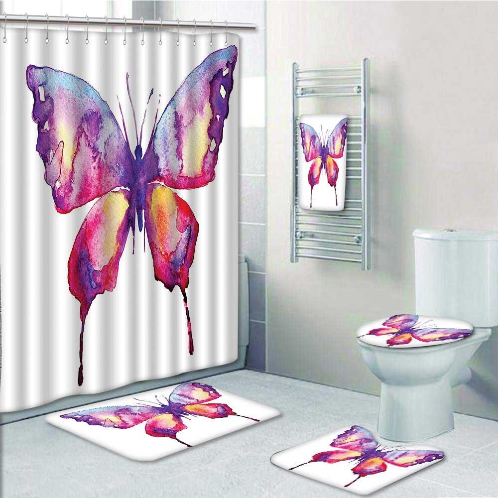 aolankaili Designer Bath Polyester 5-Piece Bathroom Set, Butter ...