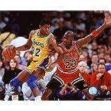 Michael Jordan & Magic Johnson 1990 Action Photo 10 x 8in