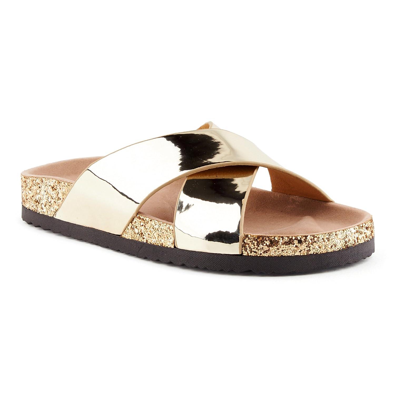Fusskleidung Damen Sandalen Lack Glitzer Komfort Sandaletten Metallic Schlappen Zehentrenner Hausschuhe Pantoletten  40 EU|K?ln/Gold (F?llt Eine Halbe Nummer Kleiner Aus)