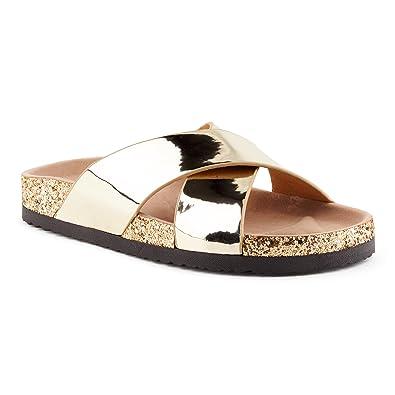 SANDALUP Pantoletten Damen Zehentrenner Sandalen Sommer Schuhe