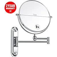 Bathroom Mirrors Wall Mounted with 7x Magnification, Double-Sided Makeup Mirrors Magnifying for Bathroom, 360° Free Rotation, Extendable and Chrome Finished for Home, Spa and Hotel, Anti-fog