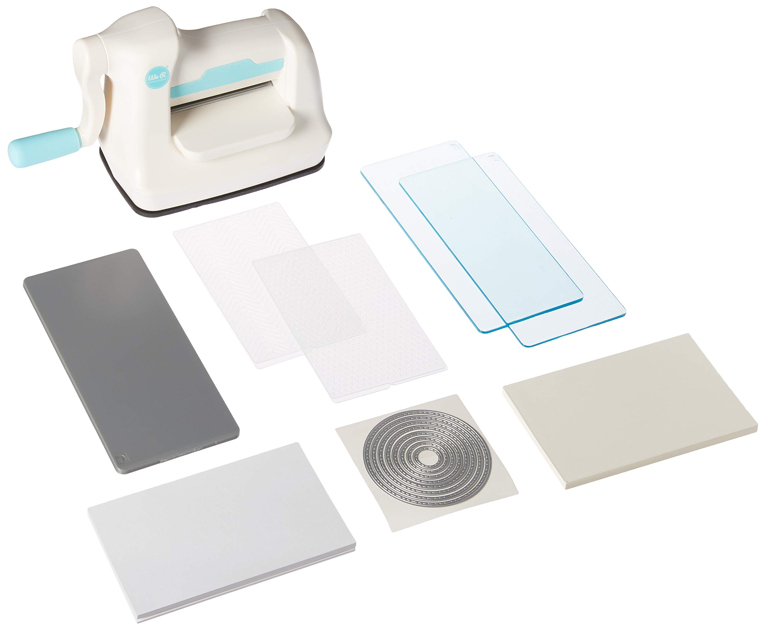 We R Memory Keepers 661629 0633356616290 Tool Mini Evolution Starter Kit-Machine Buffer Cutting Plate Embossing (64 Piece), White, Blue by We R Memory Keepers