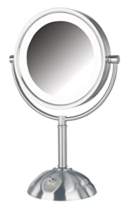 Jerdon HL8808NL 8.5-Inch Tabletop Two-Sided Swivel LED Lighted Vanity Mirror with 8x Magnification, 3-Light Settings, Nickel Finish