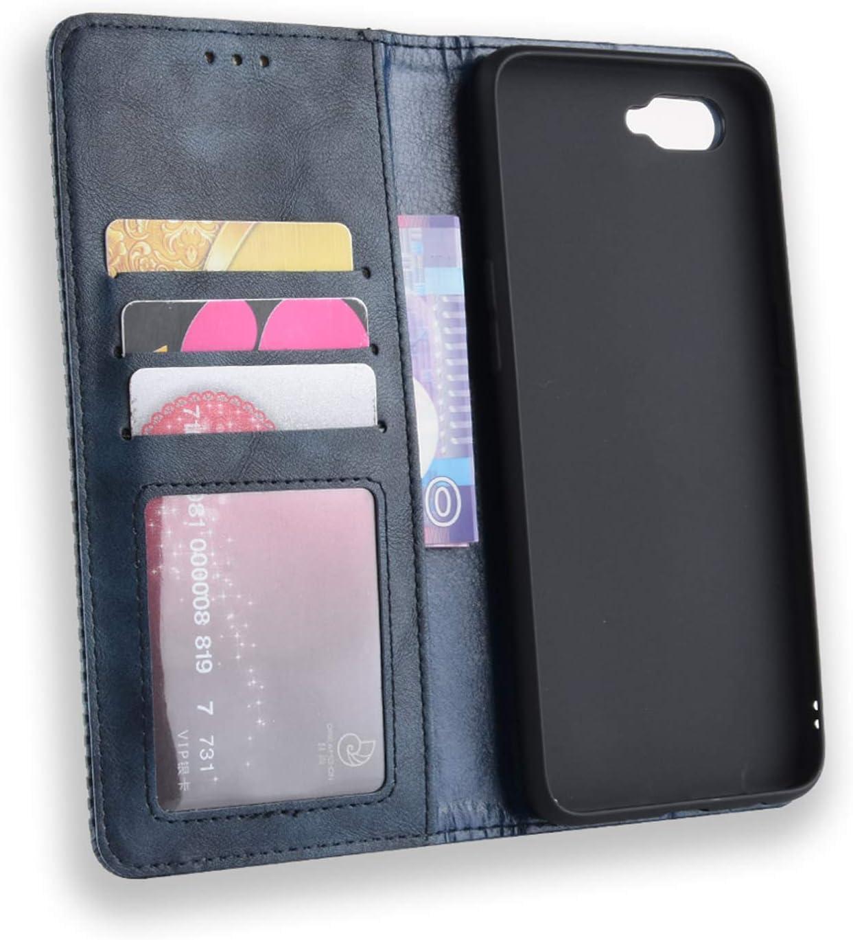 Negro Flip Leather Case Cover Carcasa de Protectora Cuero PU Billetera Cartera Plegable Funda Ranuras de Tarjeta HualuBro Funda para OPPO K1 // OPPO RX17 Neo//OPPO R15X