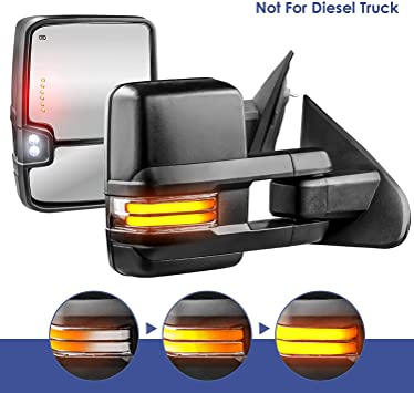 Power Heated LED Turn Signal 2 Set of BLUE GLASS Truck Tow Mirrors *NEW*