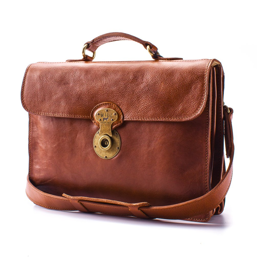 Will Leather Jacques Leather Portfolio Briefcase - Cognac Brown