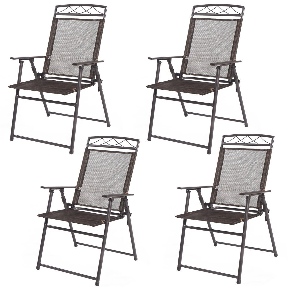 lunanice Set of 4 Patio Folding Sling Chairs Steel Textilene Camping Deck Garden Pool New