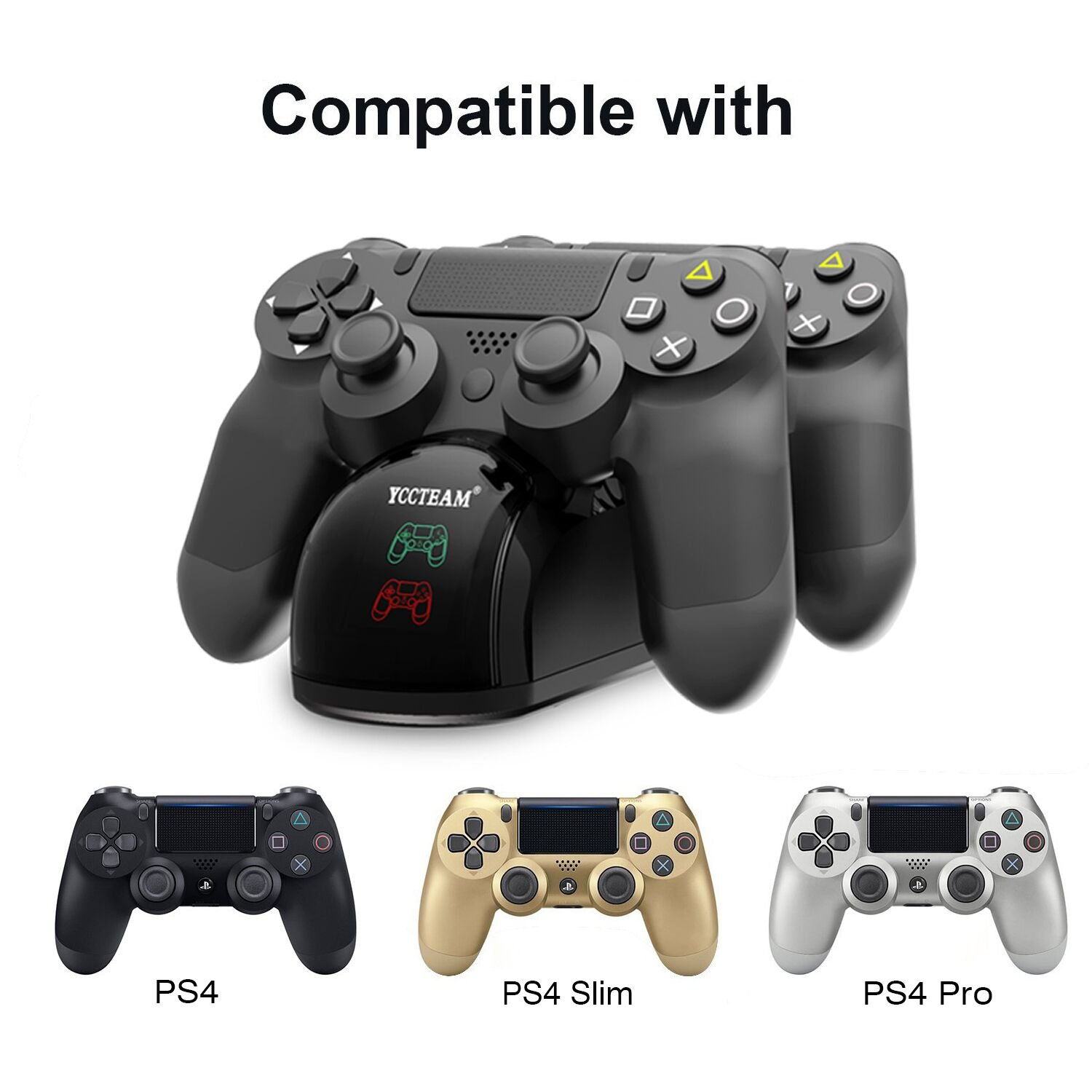 PS4 Controller Charger, Dual Shock USB Charger Charging Docking Station Stand for Sony Playstation 4 PS4/PS4 Slim/PS4 Pro Controller, Black