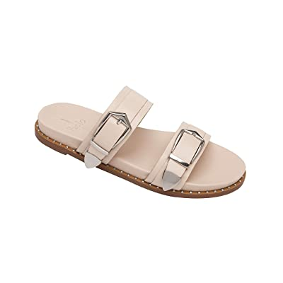 Amazon.com | Linea Paolo - Rae - Slip on Leather Welted Footbed Sandal with Gleaming Metal Hardware | Flats