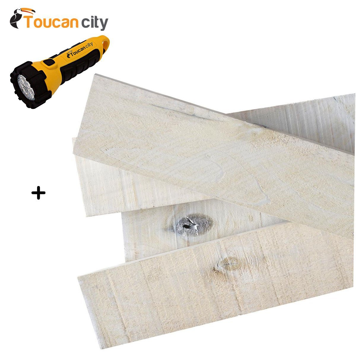 Toucan City LED Flashlight and 1/2 in. x 4 in. x 4 ft. White Wash Weathered Hardwood Board (8-Piece) 27839