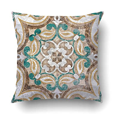 Emvency Decorative Throw Pillow Cover Case for Bedroom Couch Sofa Home Decor Vintage Italian Tile with Moroccan Pattern Square 18x18 Inches Moroccan
