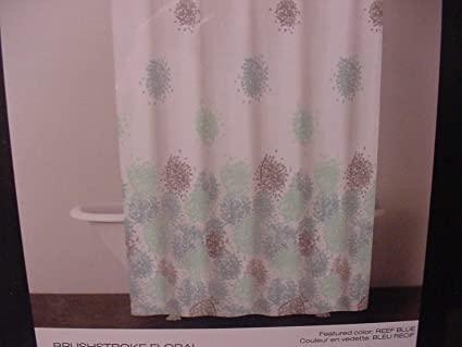 DKNY Brushstroke Floral Fabric Shower Curtain 72 X Reef Blue 100 Cotton Amazonca Home Kitchen