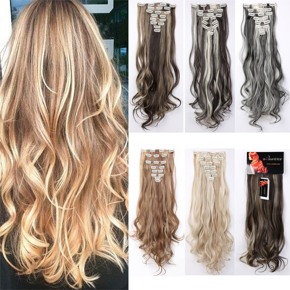Amazon clip in remy extensions 100 real human hair lady fashion mall 8pcs clip in hair extensions highlight 23 26 straight 17 pmusecretfo Image collections