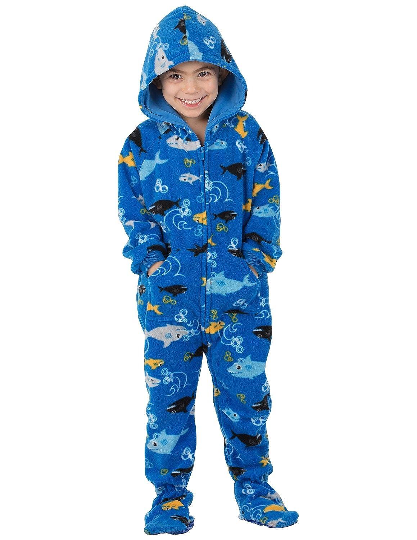 316b17a3bf26 Footed Pajamas - Shark Frenzy Toddler Hoodie Fleece Onesie ...