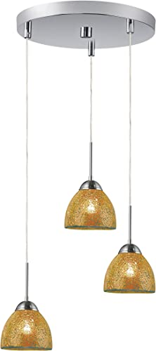 Woodbridge Lighting 13624STN-M21AMB 3-Light Mini Pendant Cluster, Satin Nickel