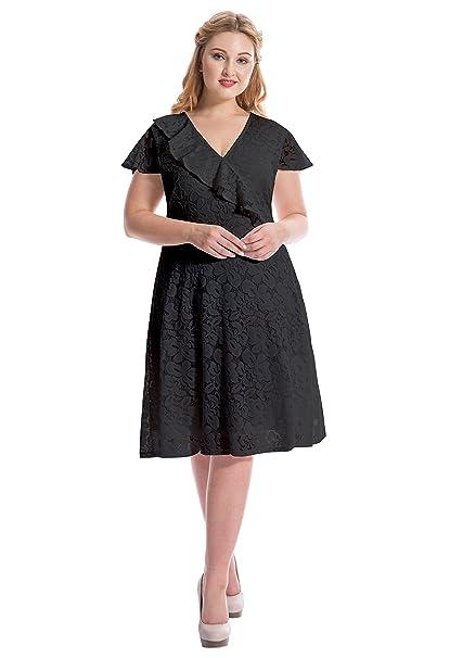 myfeel Plus Size Dress Summer A-line lace Mini Dress Patchwork Classic  Ruffle Dress