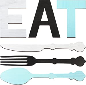 Set of Wooden Eat Sign, Fork Spoon and Knife Wood Wall Decor, Rustic Wood Kitchen Hanging Decoration, Cute Eat Letters for Kitchen Home Dining Room Cafe