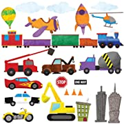 Car Wall Stickers, Train Wall Decals & Airplane Wall Decals by My Wonderful Walls – Peel & Stick Construction Stickers for Kids and Nursery Wall Art