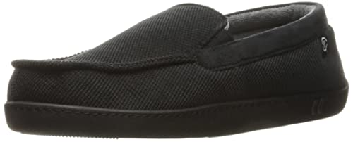 Isotoner Men's Diamond Corduroy Moccasin Slippers,  Black,  X-Large/11-12 M US