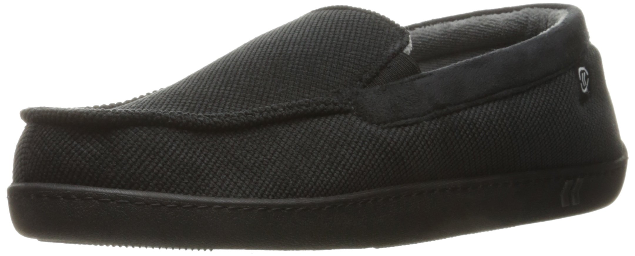 ISOTONER Men's Corduroy Gel Infused Memory Foam Moccasin, Black, Large/9.5-10.5 M US