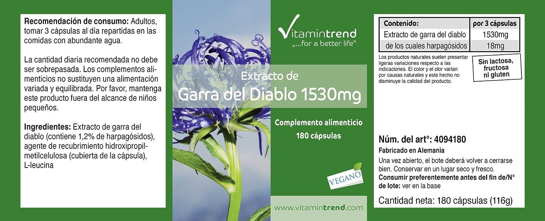 Extracto de garra del diablo 1530mg (dosis diaria) - 180 cápsulas - tratamiento para 2 meses - Vitamintrend: Amazon.es: Salud y cuidado personal