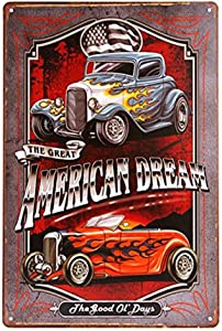 WEIMEILD American Dream TIN Sign Hotrod Vintage Car Metal Poster Print Garage Shabby Chic Wall Decor Bar Diner (M0042)