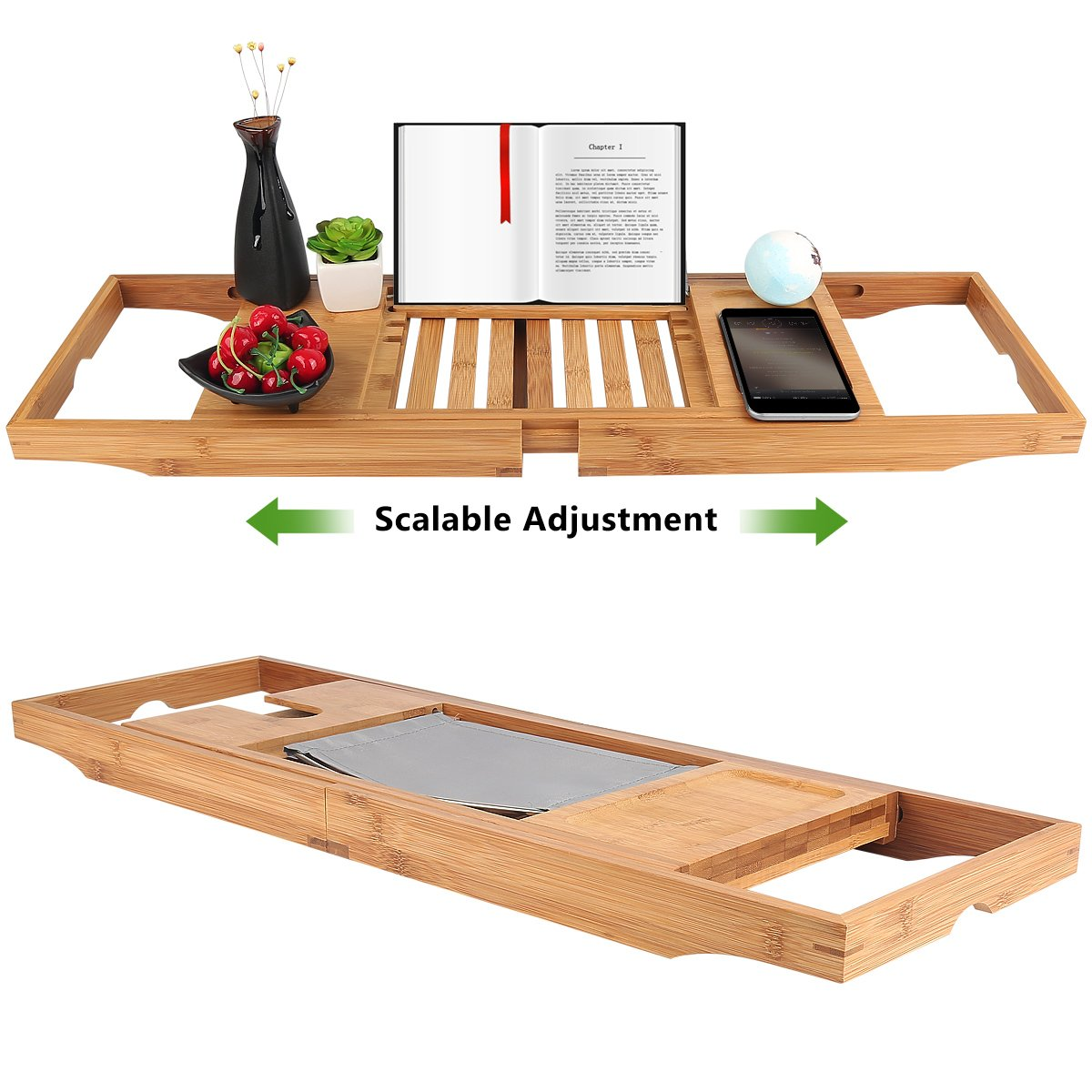 Bathtub Tray oobest Bamboo Bathtub Caddy Tray with Extending Sides Adjustable book holder with Premium Luxury Tray Organizer for Phone and Wineglass (Natural Bamboo Color) by oobest (Image #4)