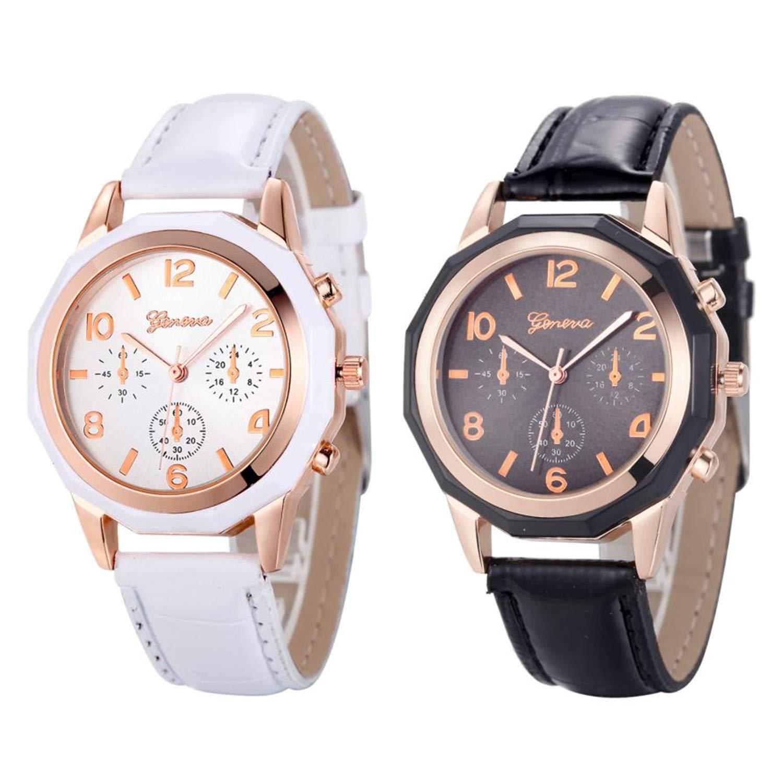 Amazon.com : sportsmanship Geneva Women Girl Roman Numerals Leather Quartz Wrist Watch Bracelet reloj Mujer Pulsera Ladies Watch(Black, ...