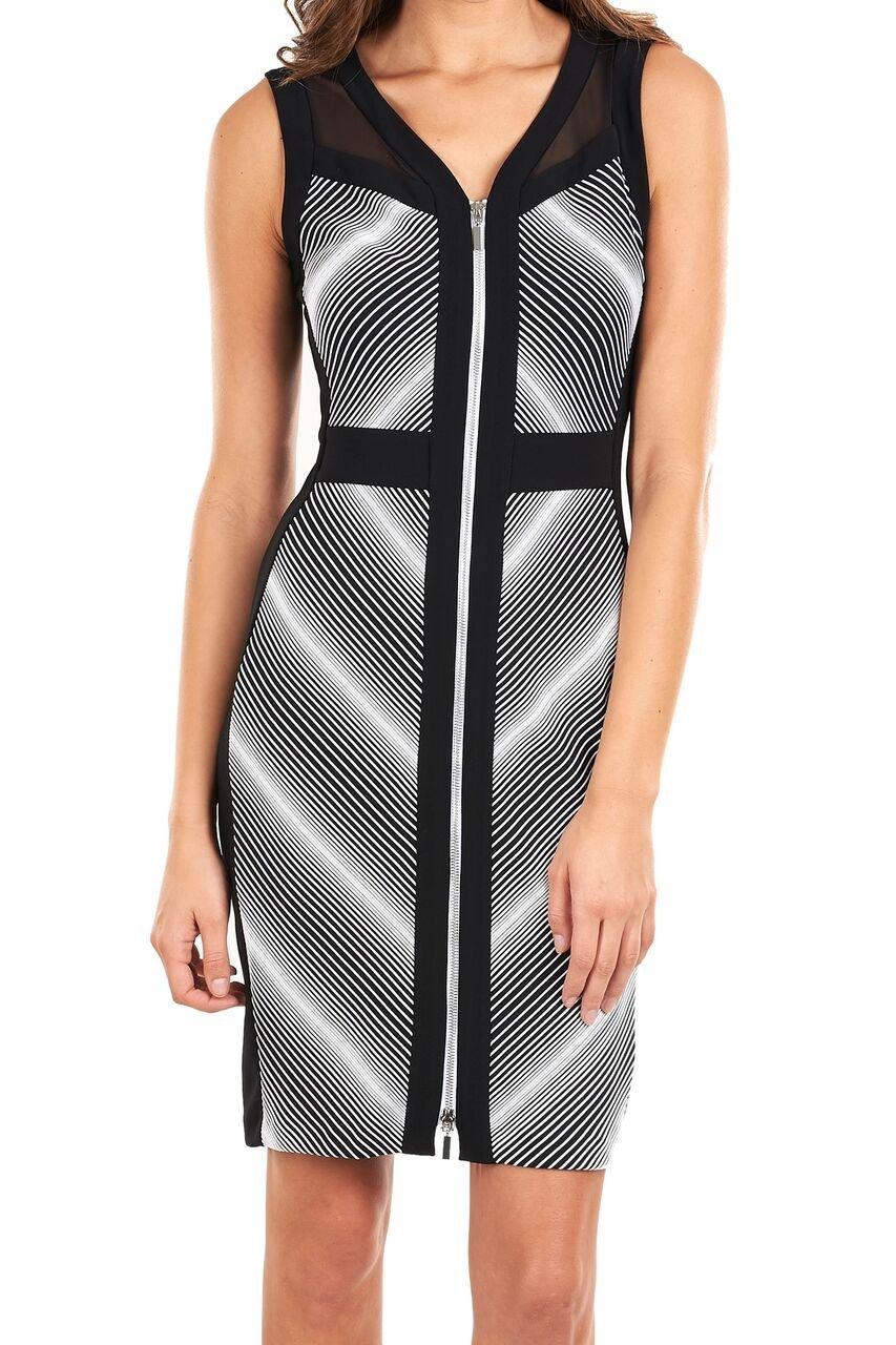 Joseph Ribkoff Black + White Diamond Pattern Zipper Dress Style 154902 (8)