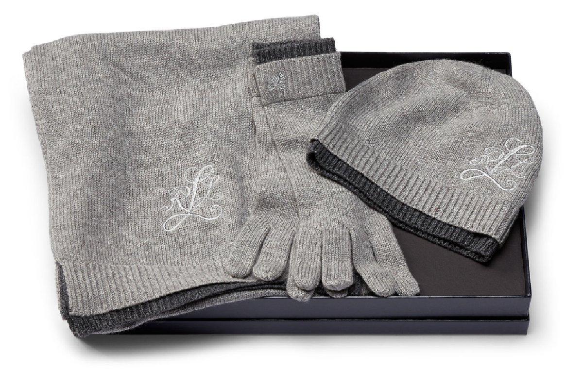 RALPH LAUREN Women's' Monogram 3-Piece Hat Gloves & Scarf Gift Set