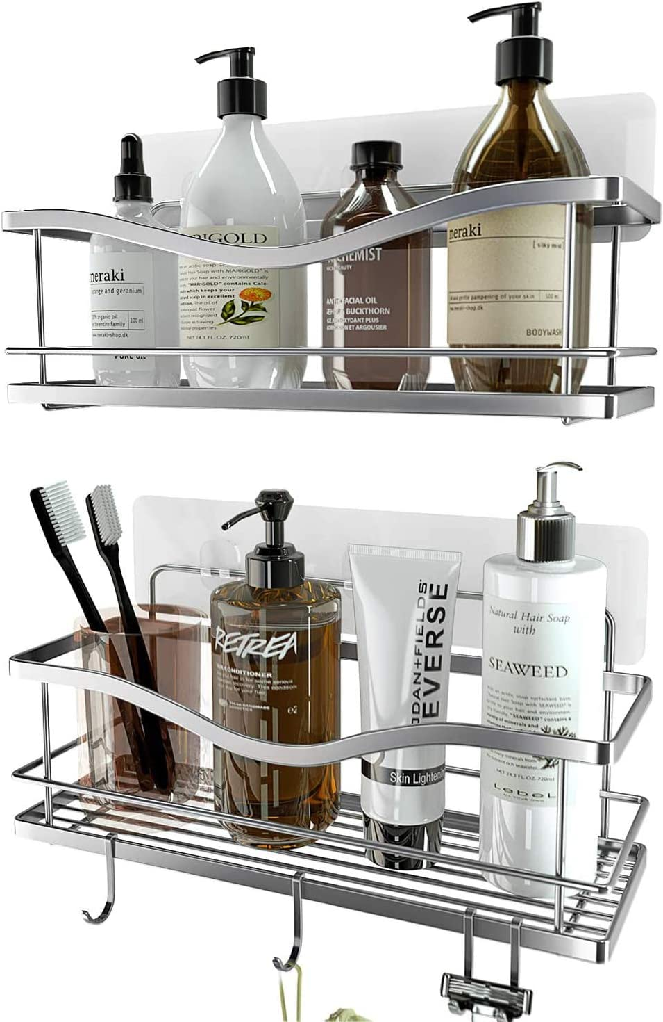 KINCMAX Shower Caddy Bathroom Shelf, No Drilling Traceless Adhesive Bathroom Storage Organizer, SUS304 Rustproof Food Storage Basket, 2-in-1 Kitchen Spice Racks-2 Pack (Polished Silver)
