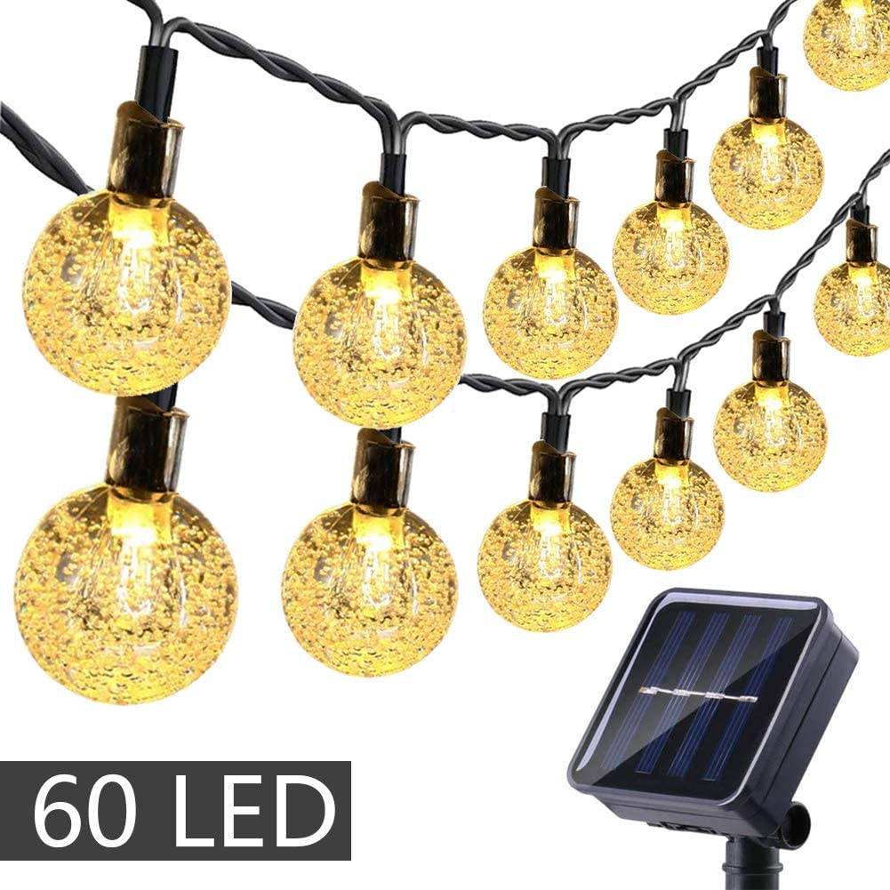 Auelife 32ft 50 LED Outdoor Garden Lights Christmas Energy Class A+++ Party Patio Crystal Ball Fairy Waterproof Decorative Lighting with Remote for Garden Solar String Lights Yard Wedding